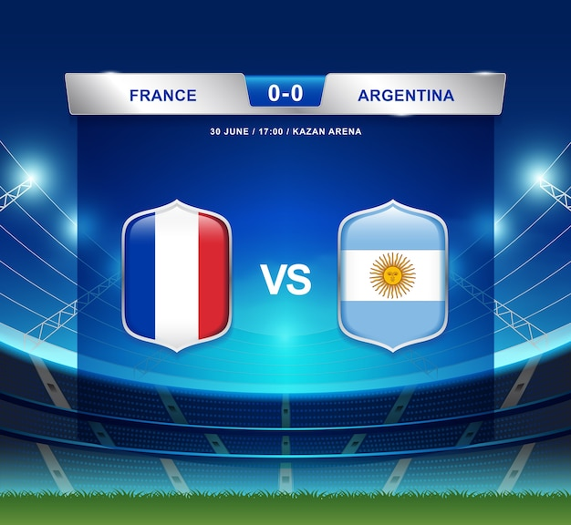 Diffusion du tableau de bord france vs argentine pour le football 2018