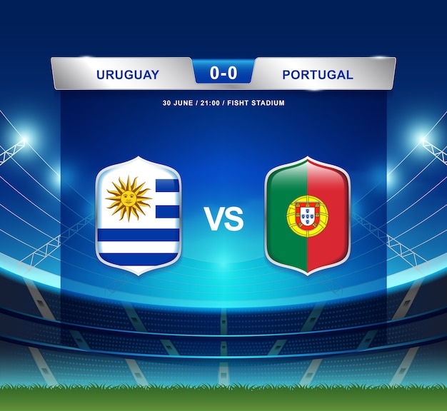 Diffusion du tableau de bord uruguay vs portugal pour le football 2018