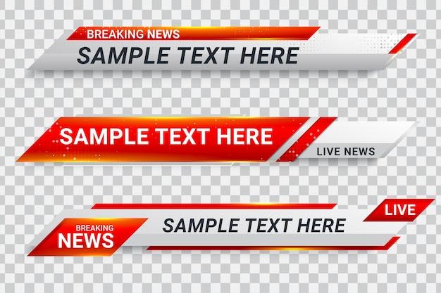 Diffusion de l'écran de la barre de bannière du tiers inférieur rouge