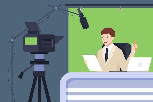 Diffusion d'un événement en direct avec l'homme et la caméra