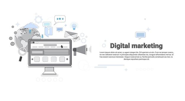 Digital marketing business megaphone dispositif haut-parleur web bannière set vector illustration