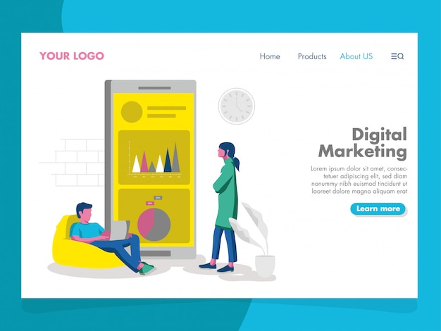 Digital marketing illustration pour la page de destination