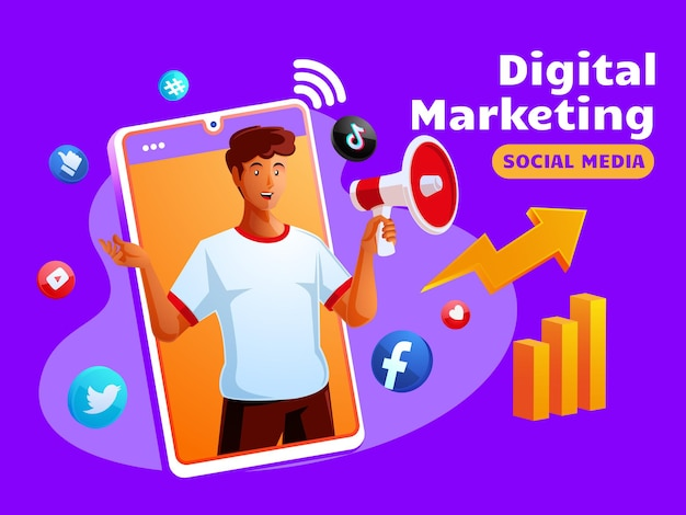 Digital marketing social media avec un homme noir et un symbole de smartphone