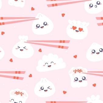 Dim sum - modèle sans couture. boulettes kawaii mignonnes avec des baguettes sur rose