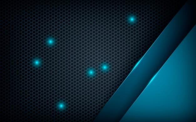 Dimension abstraite bleue sur hexagone sombre