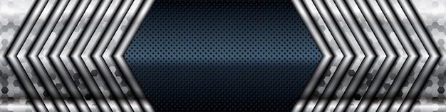 Dimension de la liste argentée sur fond de texture noire. texture de couches de chevauchement sombre réaliste avec décoration d'élément de lumière argentée