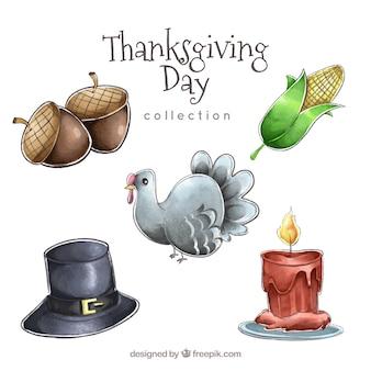 Dinde aquarelle et autres éléments de thanksgiving