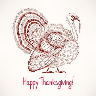 Dinde dessinée à la main mignonne. esquisser. carte pour le jour de thanksgiving
