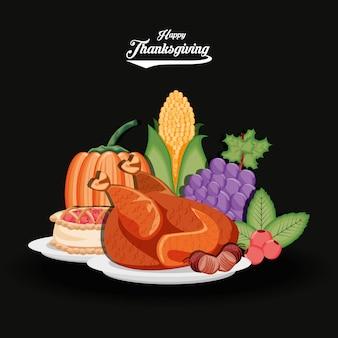 Dinde avec des raisins et de la nourriture du jour de thanksgiving