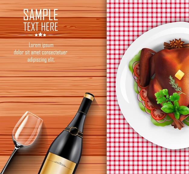 Dinde rôtie sur plaque à une table en bois avec une bouteille de vin