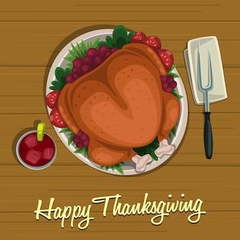 Dinde de thanksgiving rôtie à la table