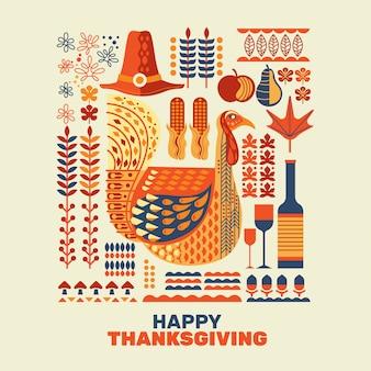 Dindes happy thanksgiving et décoration avec ensemble d'éléments de conception
