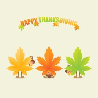 Dindes de thanksgiving déguisées en feuilles d'érable