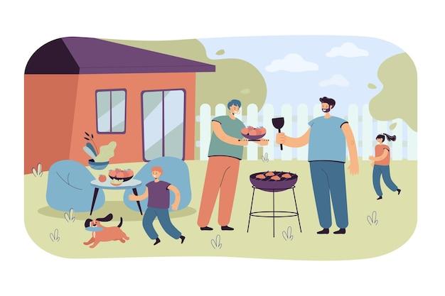 Dîner barbecue en famille