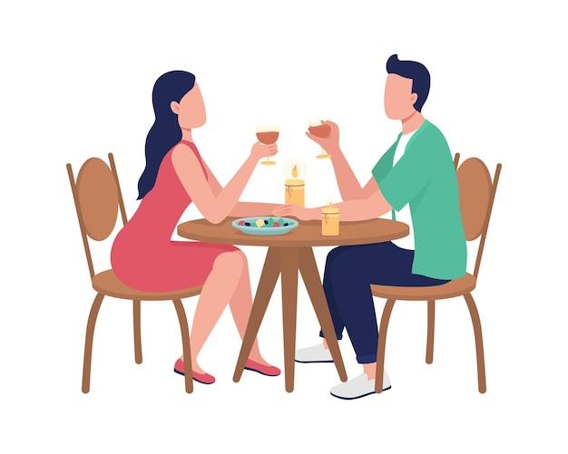 Dîner ensemble au restaurant des personnages sans visage plats. couple passant du temps au café. boire avec des amis dessin animé isolé