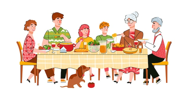 Dîner en famille ou célébration d'une scène d'événement familial avec des personnages de dessins animés d'adultes et d'enfants à table