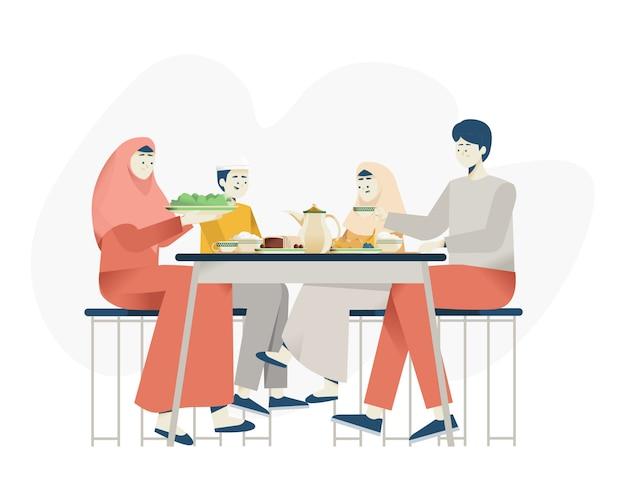 Dîner en famille musulmane