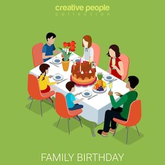 Dîner de fête d'anniversaire de famille plat isométrique
