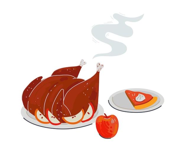 Dîner de fête de thanksgiving dinde rôtie aux pommes et tarte à la citrouille sucrée à la crème cuite