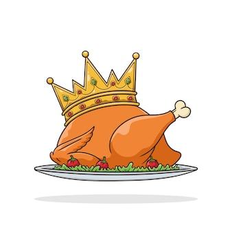Dîner de poulet gratuit de vecteur de poulet rôti roi