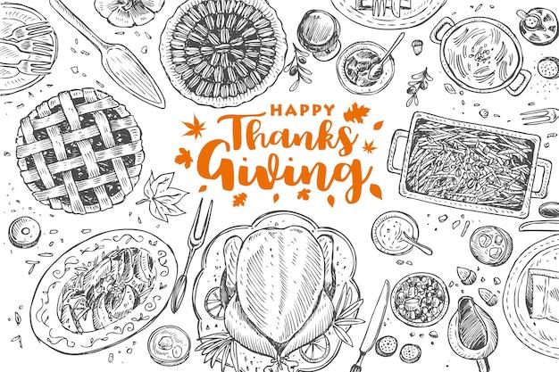 Dîner de thanksgiving dessiné à la main, illustration