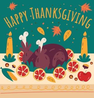 Dîner de thanksgiving dessinés à la main doodle bannière affiche flyer illustration de dessin animé plat