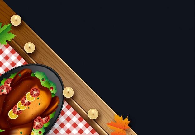 Dîner de thanksgiving avec dinde et fond