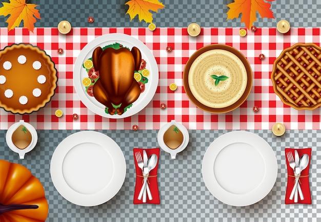 Dîner de thanksgiving avec dinde rôtie sur transparent
