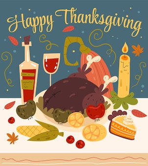 Dîner de thanksgiving avec illustration de conception graphique plate à la dinde et à la citrouille