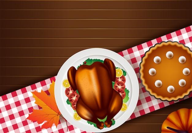 Dîner de thanksgiving turquie sur la vue de dessus de table en bois