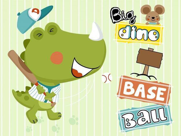 Dino cartoon jouant au baseball avec petite souris