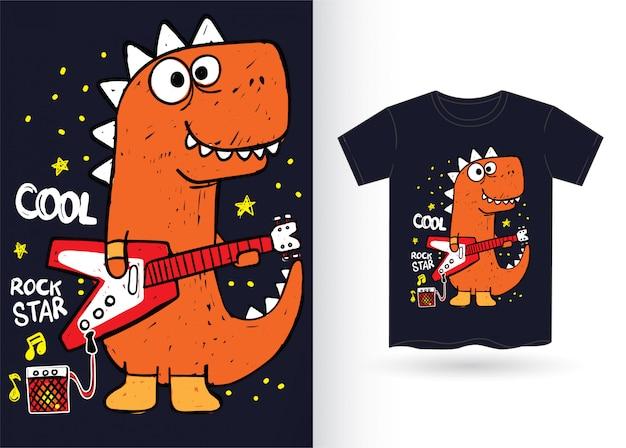Dino dessiné à la main pour t-shirt
