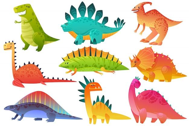 Dino mignon. dinosaure dragon sauvage animaux caractère nature heureux enfants ptérosaure brontosaure dinos figure jungle dessin animé icônes