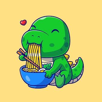 Dino mignon mangeant des nouilles ramen cartoon vector icon illustration. concept d'icône de nourriture animale isolé vecteur premium. style de dessin animé plat