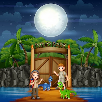 Dino park avec des dinosaures et des enfants scouts