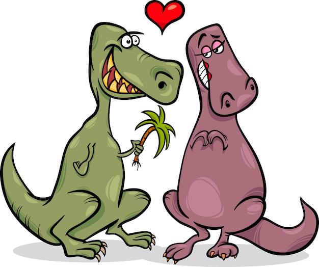 Dinos en amour illustration de dessin animé