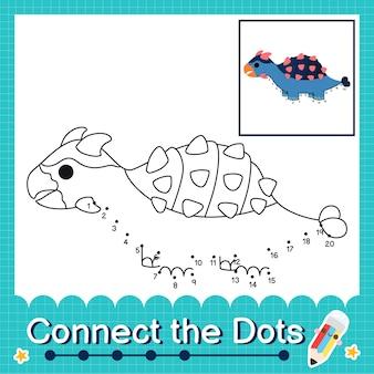 Dinosaur kids connecte la feuille de calcul des points pour les enfants comptant les numéros 1 à 20 l'ankylosaurus