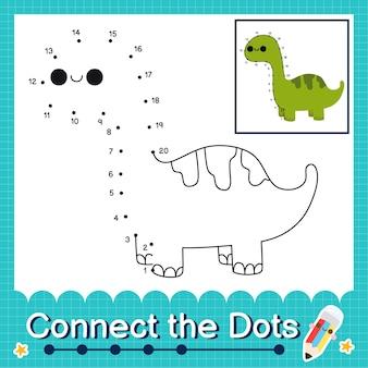 Dinosaur kids connecte la feuille de calcul des points pour les enfants comptant les numéros 1 à 20 le brontosaure