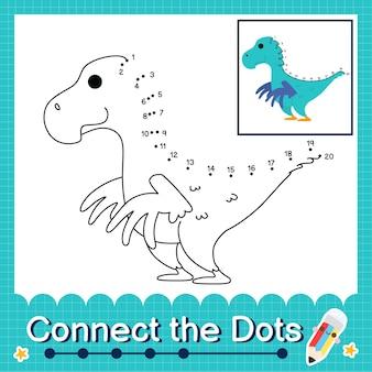 Dinosaur kids connecte la feuille de calcul des points pour les enfants comptant les numéros 1 à 20 le falcarius