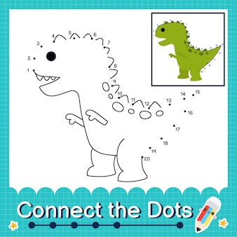 Dinosaur kids connecte la feuille de calcul des points pour les enfants comptant les numéros 1 à 20 the trex