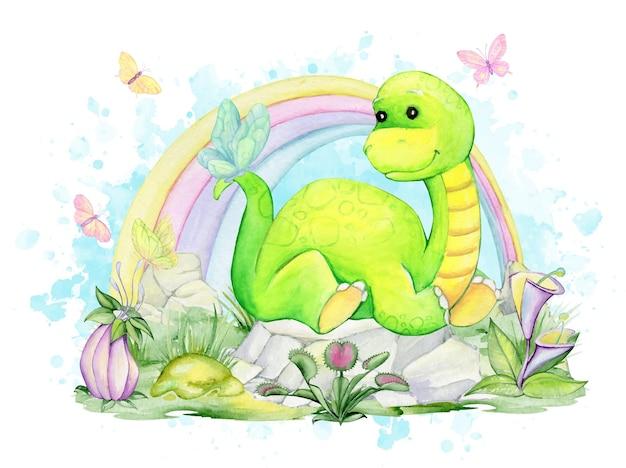 Un dinosaure, allongé sur les rochers, sur fond d'arc-en-ciel, de papillons. aquarelles, clipart.