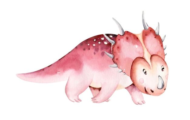 Dinosaure Aquarelle Isolé Sur Fond Blanc Hand Drawn Illustration Cartoon Baby Showe Vecteur Premium