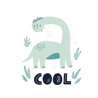 Dinosaure cool avec décoration de feuilles et lettrage. illustration vectorielle mignonne dessinée à la main pour la conception de la pépinière.