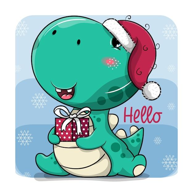 Dinosaure de dessin animé mignon avec chapeau de noël et boîte-cadeau