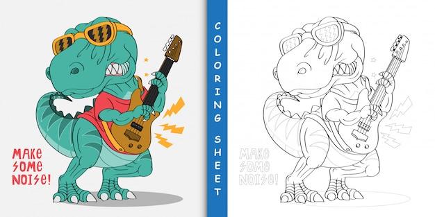 Dinosaure dessin animé la rock star, feuille à colorier