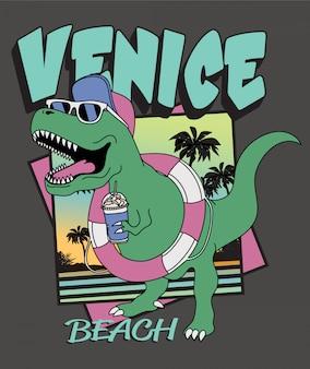 Dinosaure dessiné à la main dans l'illustration de la plage de venise