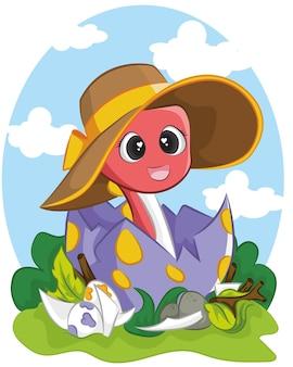 Un dinosaure drôle avec un chapeau d'été pour les vêtements pour enfants