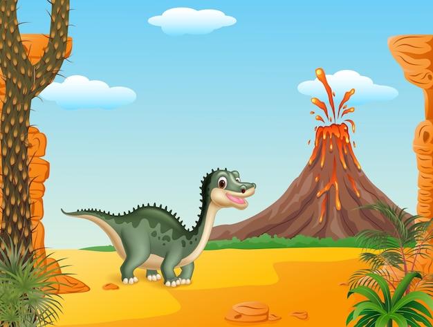 Dinosaure drôle de dessin animé avec le fond préhistorique