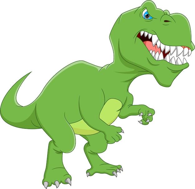 Dinosaure drôle de dessin animé isolé sur fond blanc