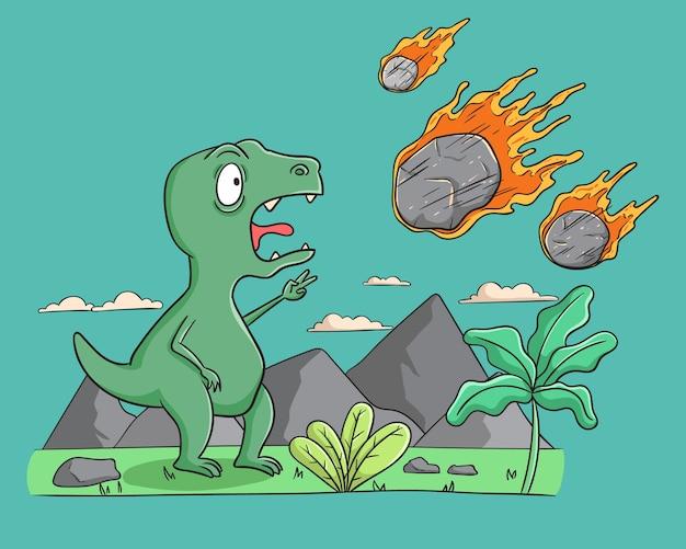 Dinosaure drôle avec météore